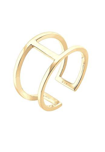 Elli Damen-Ring Geo Minimal Trend vergoldet silber 925 Größen verstellbar Gr. 54 (17.2) 0611261716_54