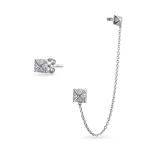 Geometric Square Chain Cartilage Ear Cuff Wrap Earring Pave CZ Stud Helix Earring Stud Set Sterling Silver