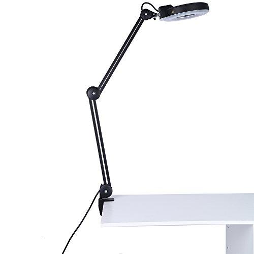 Lámpara de Mesa con Lupa, 5X Lupa 15W Lámpara Lente Circular diseño Plegable Lámpara Luz Blanca Fria Cosmetica Escritorio Lámpara de Noche con Abrazadera para Belleza, Tatuaje (Negro)