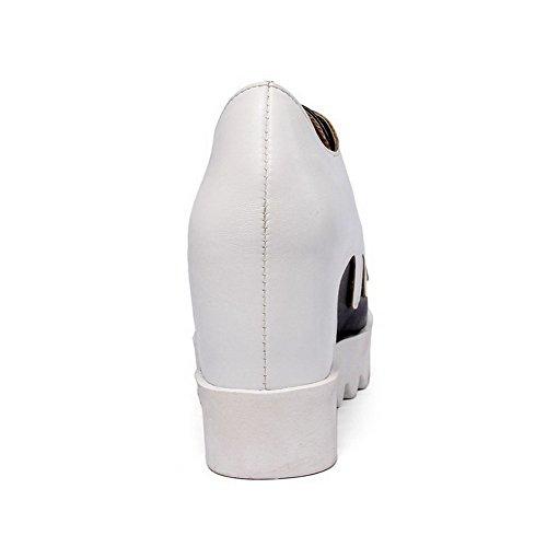 AllhqFashion Femme à Talon Haut Couleurs Mélangées Matière Souple Rond Chaussures Légeres Blanc