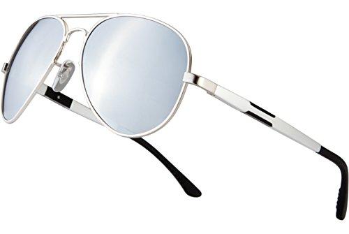 Blasea Metallrahmen Aviator polarisierte Sonnenbrille Herren Damen 026 Silber