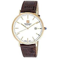 Reloj Steinhausen S0522 Classic Burgdorf Swiss Quartz de acero inoxidable para hombre con correa de cuero marrón
