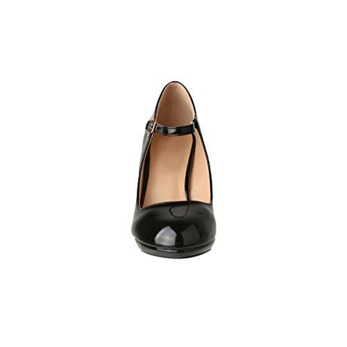 Elara Damen Pumps | Bequeme High Heels Lack-Optik | Vintage-Style | Abendschuh Trendy | Chunkyrayan | 118-7 Black-39 - 4