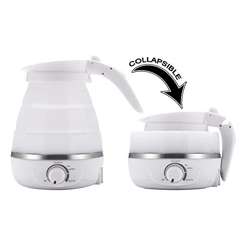 ABEDOE Faltbarer Reisewasserkocher, Dual Voltage & tragbar Wasserkocher, Mini & schnell kochend, Trockenschutz, lebensmittelgeeignet, BPA-FREI, 220-240V