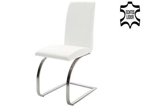 Schwingstuhl Leder Echtlederstuhl Lederstühle Stuhl Stühle'Taliteo I' (2er Set) (Weiß)