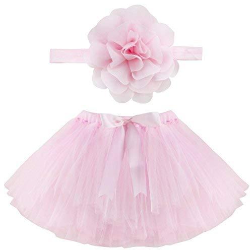 Musuntas Baby Prop Fotografie, Baby Kostüm,Foto Fotografie Outfits Baby Kostüm Tütü Rock Pettiskirt Mädchen Blumen Stirnband (Pink) (Rock Of Ages Kostüm Mädchen)