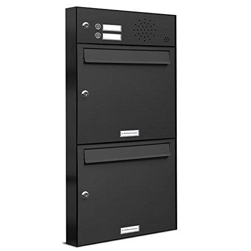 AL Briefkastensysteme 2er Briefkastenanlage mit Klingel Anthrazit Grau RAL 7016, Premium Doppel-Briefkasten DIN A4, 2 Fach Postkasten modern Aufputz