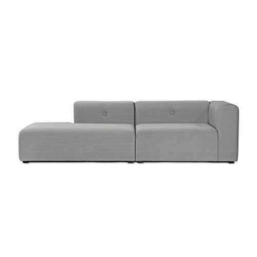 HAY Mags Lounge Sofa 246.5x127.5cm, hellgrau Beine schwarz Stoff Steelcut Trio 133 mit Knöpfe Armlehne rechts
