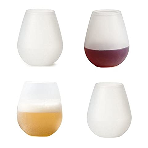 Hallowee Silicone Wine Glasses Shatterproof & Reusable for Halloween Party Pool or BBQ (12oz/ Set of 4,