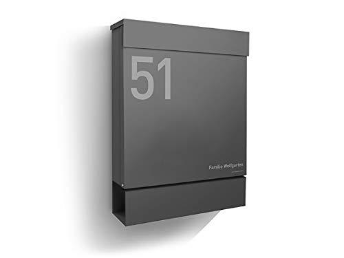 Preisvergleich Produktbild Letterman M inkl. Namensgravur - Radius Briefkasten - Anthrazit RAL 7016