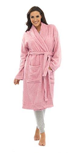 Damen-Bademantel, 100% reine Baumwolle, Luxus-Frottee-Bademantel mit Gürtel und Taschen, Nachtwäsche für Damen und Mädchen Gr. 40/42 EU, Rosa - Sorbet Pink
