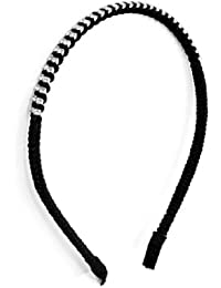 Women Rhinestone Accent Plastic Frame Hair Hoop Headband Black Silver Tone
