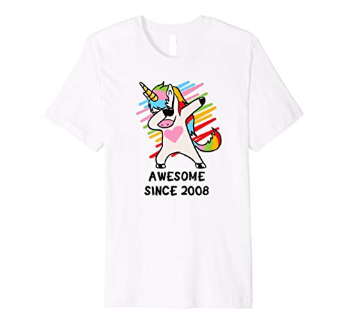 Dabbing Unicorn Shirt Awesome Since 2008 10th Birthday Gifts