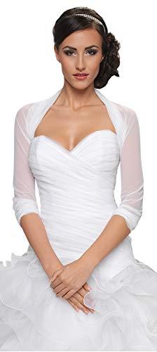 Bolero Bolerojäckchen Hochzeit Jacke Tuch für die Braut Elfenbein weiß elastischer Tüll hochwertig 3/4 langer Ärmel (Braut Bolero Ivory)
