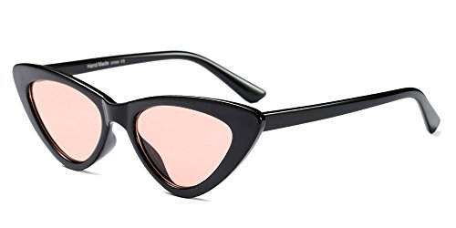 BOZEVON Damen Triangle Sonnenbrille - UV400 Brillen Katzenauge Retro Jahrgang Cat Eye Sonnenbrillen Schwarz Rosa