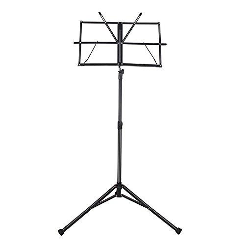 CAHAYA Notenständer Metal Einstellbar mit Wasserdicht Tragetasche klappbar Höhenverstellbar (68-102cm) - Schwarz