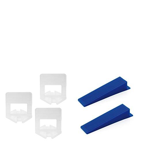 Lantelme 6771 Fliesenverlegehilfe 2 mm Fliesen Montage - Nivelliersystem - Verlegesystem - Verlegehilfe Mit je 100 St. Zuglaschen für 2mm Fugenbreite und 100 St. Keile