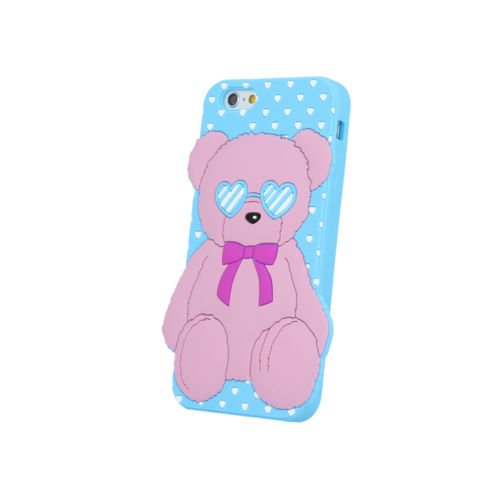 "BACK CASE 3D Liebe Teddybär Love Bear Für Apple iPhone 7 4,7"" Apple iPhone 7 Silikonhülle Hülle Etui Flip Cover Silikon Tasche (blau / blue) blau / blue"