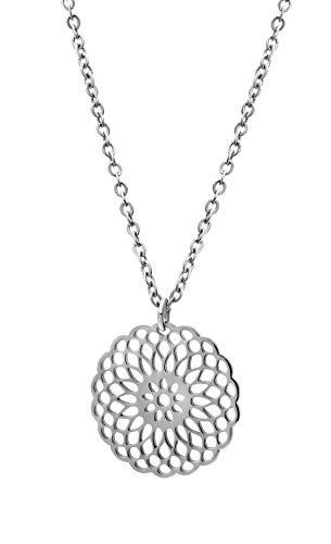 Nuoli® Filigrane Kette Silber mit Mandala Anhänger (50 cm) hübsche Halskette für Frauen