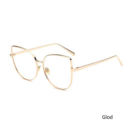Aprigy - Designer-Metallrahmen optische Gläser Frauen Glas-Katze Eyle klare Linse Gläser Weibliche Brille Lady Mann [Gold]