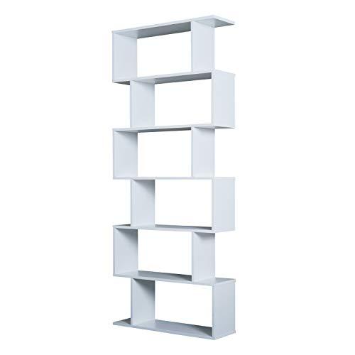 HOMCOM Bücherregal Wandregal Raumteiler mit 6 Fächern Standregal Aktenregal Weiß L80 x B23 x H192 cm -