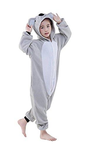 Ghope Pyjamas Kinder Kostüm Jumpsuit Tier Schlafanzug Cosplay Karneval Fasching Unisex Cartoon Kigurumi Anime Onesie Tierkostüme ,Koala Höhe 135-145cm