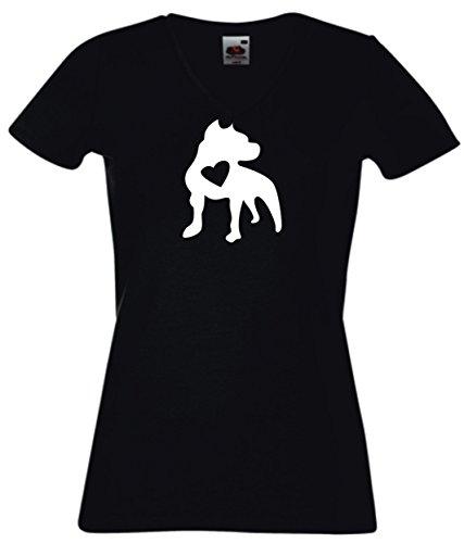 T-Shirt Damen V - Ausschnitt schwarz - Pitbull with heart silhouette - M (Black Pitbull-t-shirts)
