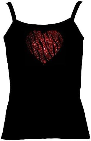 elegantes Damen Shirt Valentinstag grosses rotes Herz Strass Zebralook I love you, Spaghetti-Top, Grösse S, (Weiß Damen Strass-herz-t-shirt)