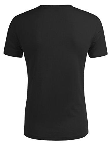 HEMOON Herren Slim Fit Kurzarm T-Shirt Basic V-Ausschnitt Tee Einfarbig Schwarz-Rundkragen