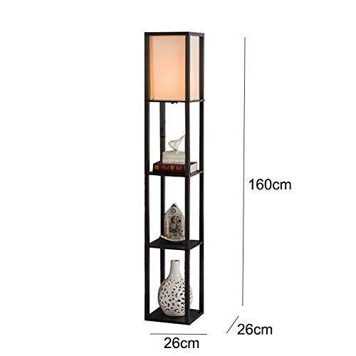 Sumferkyh-lt Buchen Sie Leselicht Stehende Wohnzimmerlampe mit 3 Ebenen Bücherregal für das Lesen im Wohnzimmer (Farbe : Kaffee, Größe : 45 * 45 * 153cm) -