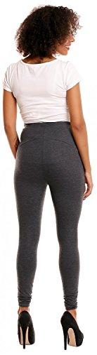 Happy Mama. Damen dehnbar Leggings Umstandsmoden elastischer Taillenbund. 775p Graphit