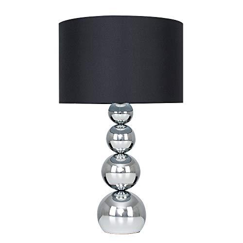 MiniSun – Große, Touch-Me 'Marissa' Tischlampe mit verchromten Kugeln und einem schwarzen Lampenschirm aus Samt/Seide – Tischleuchte