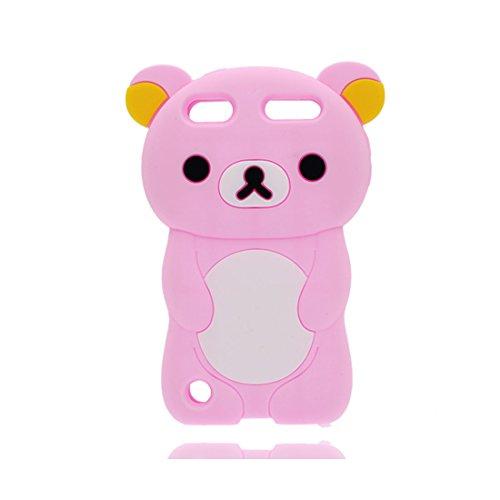iPod Touch 6 Coque, TPU Flexible Durable iPod Touch 6 étui Cover Case [Impact Shock Resistant] + [Génération] ( Compatible avec Apple iPod Touch 6th 3D singe Cartoon Monkey) rouge rose