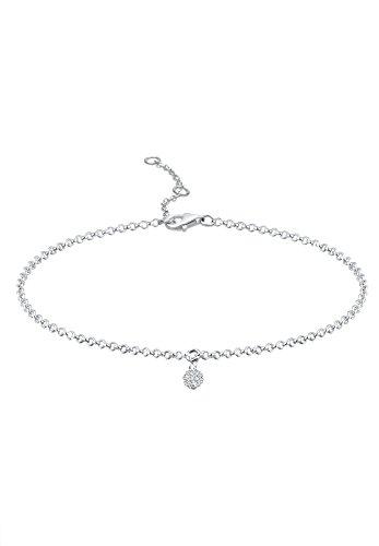 Elli Damen Armband Kugel 925 Sterling Silber Swarovski Kristalle weiß Länge 18 cm