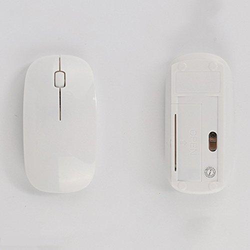 Preisvergleich Produktbild spritech (TM) optischen Slim batteriebetrieben Kabellose Maus mit Nano Empfänger für Laptop Desktop Netbook PCS, weiß, Einheitsgröße