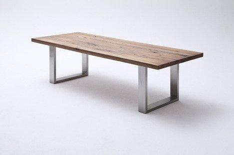 Unbekannt 260cm Design Esszimmertisch Eiche bassano Edelstahl Esstisch Esszimmer Tisch