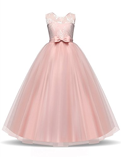 NNJXD Girl Kids Lace Tulle Wedding Party Dress Princess Gowns