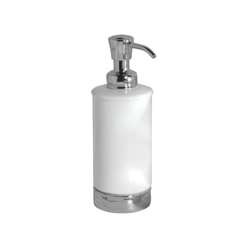 InterDesign York Soap Dispenser/Pump for the Bathroom, Made of Ceramic, White/Chrome