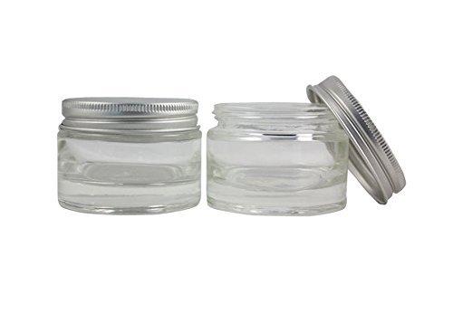 50 ml Transparent cylindrique Crème Cosmétique Conrainers bocaux en verre avec bouchon à vis en aluminium Argenté