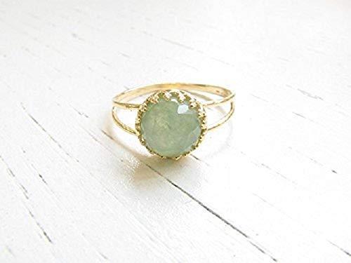 Natürlicher Jade Ring Grün Damen Gold Silber 925 Schmuk - Natürlichen Grünen