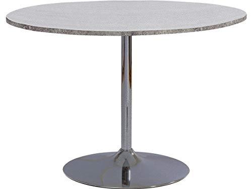 Loft24 TROMPET Esszimmertisch Esstisch Küchentisch Bistro Cafe Bar Tisch Trompetenfuß Metall ø110 cm Rund Modern (Zement-Optik)