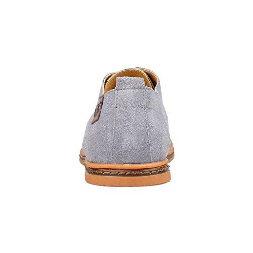 Oriskey Chaussures de Ville à Lacet Homme Cuir Suede Oxfords Casual Chaussons Gris