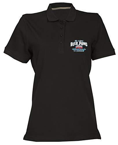T-Shirtshock T-Shirtshock Polo fur Frau Schwarz BEER0022 Beer Pong