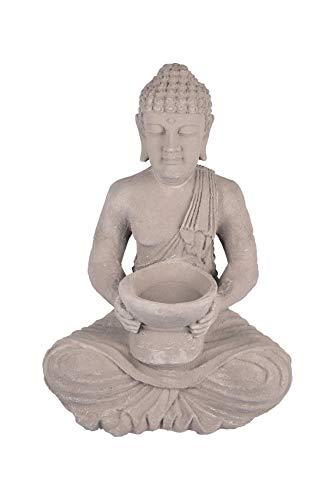 Buddha 40cm mit Lotusblütenkerze Feng Shui Deko Statue Figur Skulptur Steingrau