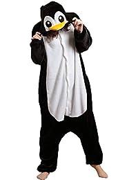 Jumpsuit Tier Pyjama Damen Lang Winter Karton Fasching Halloween Pinguin Kostüm Sleepsuit Cosplay Flanell-Overall Pyjama Schlafanzug Erwachsene Unisex
