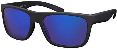 Sonnenbrille UV 400 La Optica Herren Männer Leicht Sport Laufen - Einzelpack Gummiert Schwarz (Gläser: Blau verspiegelt)
