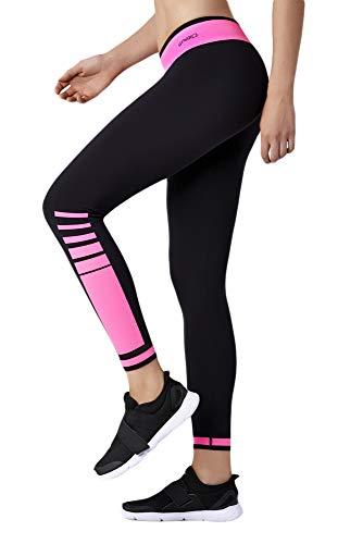 Selente Fitness-Outfit (made in Italy) Leggins mit Seamless-Technologie für optimalen Tragekomfort, Leggins Streifen schwarz/pink, Gr. XL