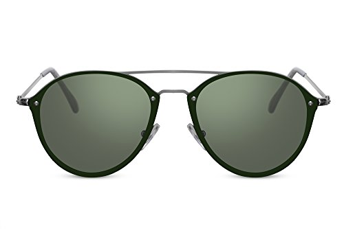 Cheapass Piloten-Sonnenbrille Grün UV-400 Flat Flach Rund Groß Flieger-Brille Metall Damen Herren
