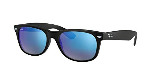 Ray-Ban New Wayfarer Sonnenbrille Black Rubber Blue Flash
