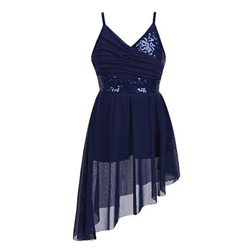 (Freebily Mädchen Kleider Spaghettiträger Pailletten Ballettkleid Tanz Kleid Latein Ballett Tutu Kleid Gymnastik Trikot Asymmetrische Kleid Kostüme Marineblau 122-128/7-8Jahre)